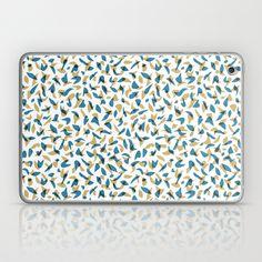 Flutter Laptop & iPad Skin #feathers, #pattern, #illustration, #birds, #nature, #paint, #february