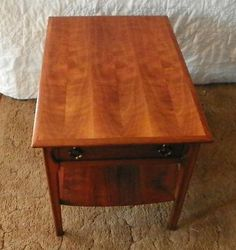 Walnut Mersman End Table / Side Table With Drawer (t251)