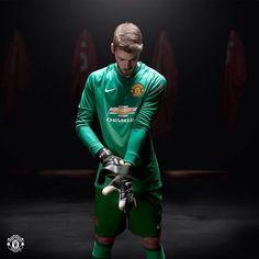 David De Gea in Manchester United new 2014 15 goalkeeper home kit.  MUFC 91370892f