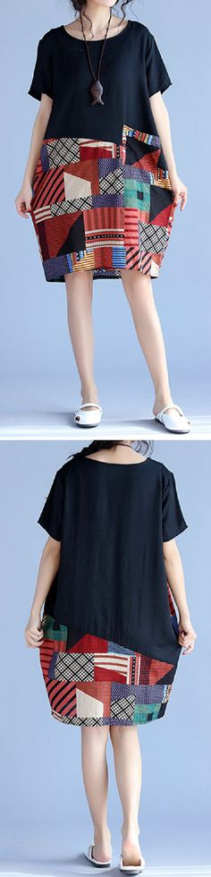 US$ 17.91 Gracila Print Patchwork Short Sleeve O Neck Women Dresses