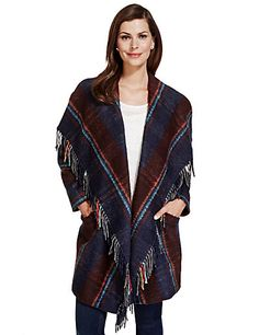 Textured Checked Blanket Coat with Wool | M&S
