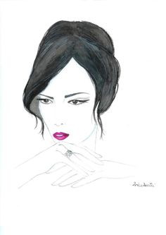 Watercolor Fashion Illustration Mysterious Woman Hand by Zoia