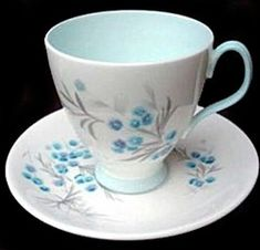 royal albert blue heaven--smooth shape#2 with the pale blue interior, handle and base. i <3 this!
