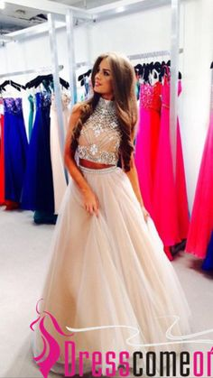 2 Pieces Champagne Prom Dress Ball Gowns High Neckline Beaded Bodice Tulle Skirts Summer Fashion Homecoming Evening Dresses - Thumbnail 2