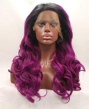 2016 new fashion two tone color synthetic lace front wig black root rose red…