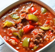 For an easy and delicious beef stew, try this Stuffed Bell Peppers Beefy Tomato Soup recipe. This is a delightful stuffed peppers ground beef tomato soup recipe that will impress everyone at your dinner table.
