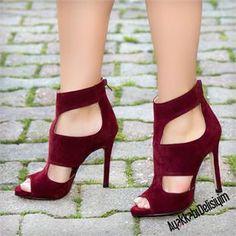 Persev Süet Bordo İnce Topuk Ayakkabı