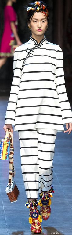 Dolce & Gabbana Spring 2016 RTW: black and white women's two piece outfit: summer resort wear