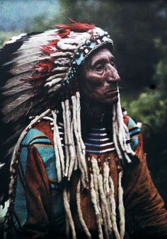 Montana - Portrait of a Flathead chief adorned in strips of the popular ermine, Glacier National Park