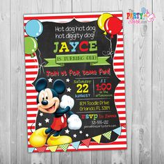 Mickey Invitations Mickey First Birthday Invitation Mickey Invites Mickey Invitations Printable Digital Mickey Mouse Invitation Red by ThePartyStork on Etsy Mickey Mouse First Birthday, Boy First Birthday, 2nd Birthday Parties, Mickey Mouse Birthday Invitations, Digital Invitations, First Birthdays, Invites, Printable, Rodeo