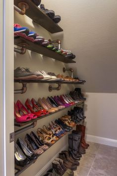 DIY pipe shoe storage rack Iron Pipe Shoe Rack: First project at the new house completed!