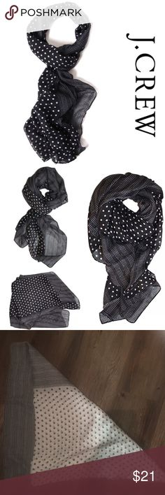 J. Crew Double Polka Dot Scarf Wrap Black/White Classic scarf, pattern and print! Super fun (not to mention - easy) to accessorize. A classic print with some added pizazz. Add a fresh look with feminine flair to your ensembles. Wrap it around your favorite sleeveless dress or around your waist as a sarong, pareo. Seasonless weight scarf will brighten up your basics * 100% Viscose * 66 inches by 40 inches, crinkle texture * EUC NO FLAWS! (Aside from removal of tags) * NOTICE THE MAIN COLOR IS…
