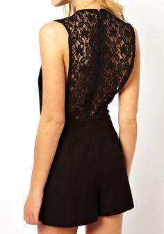 Black Lace Sleeveless Romper