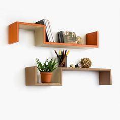 Trista - [Romantic Classics] S-Shaped Leather Wall Shelf / Bookshelf / Floating Shelf (Set of 2)