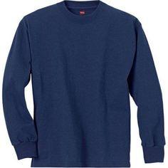 Hanes Boys' Long Sleeve Beefy Tees, Boy's, Size: Medium, Blue