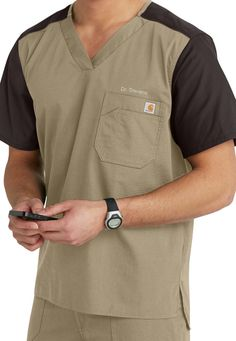Carhartt mens contrast v-neck scrub top. Main Image