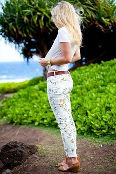 Floral white denim jeans