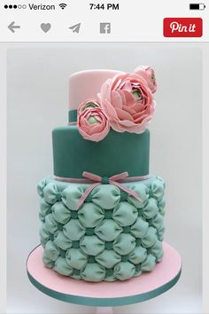 Pink and green billow puff cake