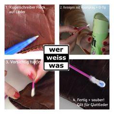 Kugelschreiber Flecken lassen sich ganz einfach mit Haarspray entfernen: Einfach auf einen Q-Tip sprühen und vorsichtig den Fleck abtupfen. Fertig :) Besonders geeignet für glatte Oberflächen und Leder!