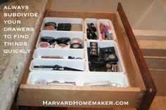 Ideas to Help Organize Your Home and Your Life - Harvard Homemaker // Subdivide the drawers Makeup Drawer Organization, Organization Hacks, Makeup Dividers, Organize Your Life, Organizing Your Home, Organizing Tips, Drawer Organisers, Drawer Dividers, Drawer Storage