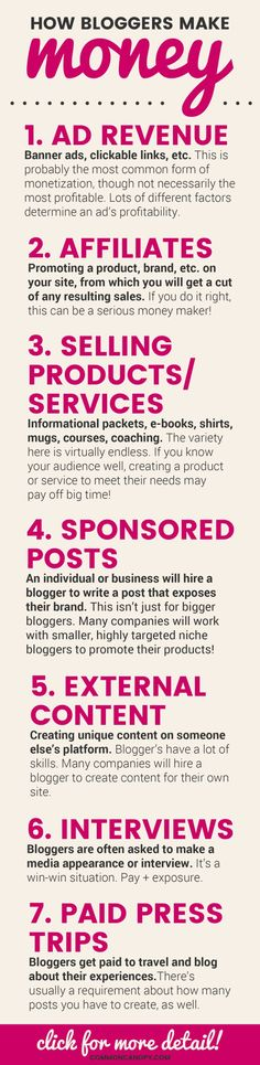 How Bloggers Make Money Infographic   CommonCanopy.com: This infographic is so helpful! I've always wondered how bloggers made a serious income. The post it's attached to is even more informative! It talks about how to make your income sustainable in the long-term!