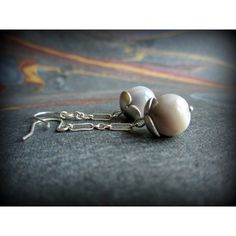 Botswana agate and sterling silver earrings, dangle earrings, neutral... ($32) via Polyvore featuring jewelry, earrings, agate earrings, gray earrings, french hook earrings, beaded earrings and chain earrings