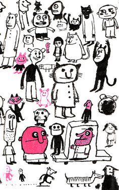 Collages, Doodle Paint, Black White, Children's Book Illustration, Easy Drawings, Art Images, Illustrations Posters, Character Design, Doodles