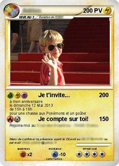 Votre carte d'invitation d'anniversaire pokémon 100% originale