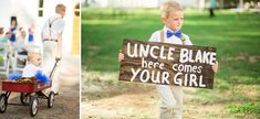 "© Anna Lee Media | Oklahoma Wedding Photographer, adorable ring bearer, nephew, uncle, ""Here comes your girl"" sign, walking down isle, outdoor ceremony, blue bow tie, flower girl in radioflyer wagon, blue tutu"