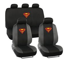 Warner Brothers Superman Seat Covers for Car SUV - Universal Fit Auto Accessories w/ Belt Pad & Steering Wheel Cover. For product info go to:  https://www.caraccessoriesonlinemarket.com/warner-brothers-superman-seat-covers-for-car-suv-universal-fit-auto-accessories-w-belt-pad-steering-wheel-cover/