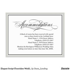 Elegant Script Flourishes Wedding Accommodations Postcard - Just had another bulk order of this handy wedding accommodations card at Oasis_Landing on Zazzle.