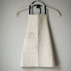 Items similar to Boy apron, Linen with black twill, light blue stitching, spoon and fork decorative stitching. Simple, modern and cute. on Etsy Cool Aprons, Fog Linen, Childrens Aprons, Apron Designs, Linen Apron, Sewing Aprons, Kids Apron, Apron Dress, Shop Interiors