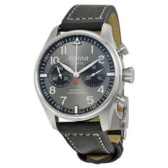 #Alpina #Startimer Pilot Automatic Chronograph Anthracite #Dial Black Leather #Men's #Watch