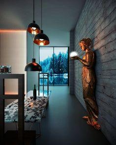 Arturo de la Peña | Arquitectos Interior design, blue light, concrete, light, gold light Interiores Design, Ceiling Lights, Lighting, Projects, Home Decor, Architects, Log Projects, Blue Prints, Decoration Home