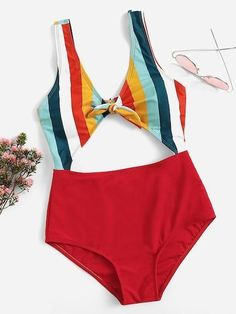 Shop Striped Knot Front Cut-Out One Piece Swimsuit online. SheIn offers Striped Knot Front Cut-Out One Piece Swimsuit & more to fit your fashionable needs Cut Out Swimsuits, Women's One Piece Swimsuits, Cute Swimsuits, Summer Bathing Suits, Cute Bathing Suits, Bathing Suits One Piece, One Piece Suit, Cut Out One Piece, One Piece For Women