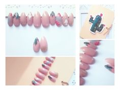 Scudi Store Hand Painted Gel Press On Nails - Cactus Baby  Nice Gift - Cute Packaging 🌵