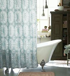 Boho paisley medallion cotton fabric shower curtain in teal aqua blue