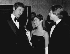 Harrison Ford, Carrie Fisher and Mark Hamill at the LA Premiere of Star Wars (1977)