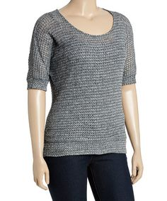 This Gray Waffle-Knit Scoop Neck Tee - Plus by Libian is perfect! #zulilyfinds