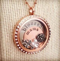 Origami Owl - gold crystal - blessed - mama