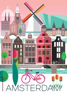 Vintage Travel AMSTERDAM POSTER - Digitally printed in the USA on matte cardstock and suitable for framing or displaying as is. Custom printed, so please allow two weeks for delivery. Poster Art, Poster Ideas, Photo Vintage, Retro Vintage, Travel Illustration, Vintage Travel Posters, Grafik Design, Beach Trip, Packing Tips For Travel