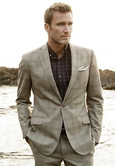 J. Hilburn Sportcoat Pebble Large Plaid; Shirt Aubergine/Pine Plaid; Pocket Square Slate Wool Silk Solid; Trousers Pebble New Luxury Flannel