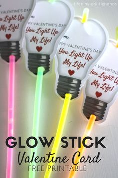 Easy printable glow stick Valentines Day card for kids to make and give for a candy free Valentine activity!