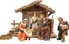 Holy Family with Angel Shepherd Cow and Lamb in Manger Resin Nativity Set, 8 Inch Christmas Nativity http://www.amazon.com/dp/B015RNJEW4/ref=cm_sw_r_pi_dp_-cTowb17V3BMQ