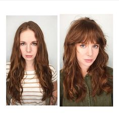 Before and after of our super stylish and fabulous client @kari_devereaux and her updated cut by Jayne. Loving the soft auburn hair with cool fringe and layers. ✨@jayne_edosalon