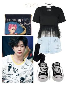 Youngjae Inspired Outfits #3 by flaviaazevedo2000 on Polyvore featuring polyvore fashion style MSGM New Look J.Crew Charlotte Olympia Charlotte Russe Thom Browne Converse clothing kpop bias youngjae GOT7