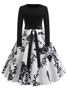Women's Sexy Round Neck Vintage Style Pinup Swing Fashion Printing Evening Party Rockabilly Retro Dress - WHITE S Pretty Outfits, Pretty Dresses, Beautiful Dresses, Elegant Dresses, Casual Dresses, Fashion Dresses, Winter Dresses, Robes Vintage, Vintage Dresses