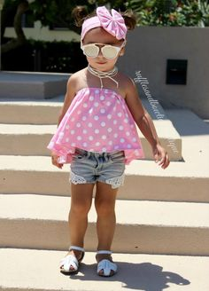 2 Pc Peppermint Pink Polka Dot Halter Swing Top and Matching Headband