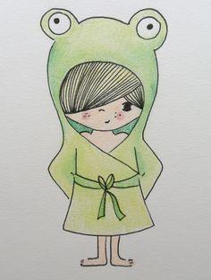 illustration kidsroom   illustratie kinderkamer   frog   kikker www.kinderkamervintage.nl