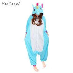 d81b3ac4453 Unicorn Pajamas Women Cosplay Costume Animal Onesie Girls Blue Pink Purple  Homewear Flannel Warm Loose Soft Jumpsuit Kid   Adult